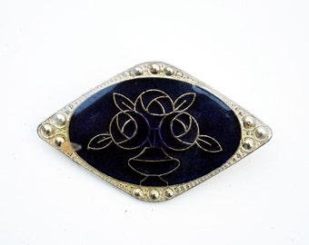 Indigo Ink Art Deco Roses Tile Pin
