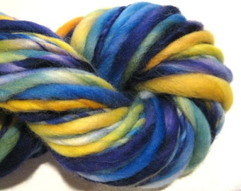 HALF OFF SALE Handspun Yarn Atlas 64 yards rainbow yarn hand dyed merino wool knitting supplies  waldorf doll hair knitting supplies