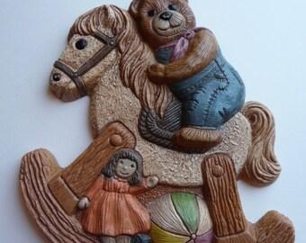 SALE rocking horse, teddy bear, wall art, vintage wall hanging, horse, vintage home decor, nursery decor, childs room, doll,foam art