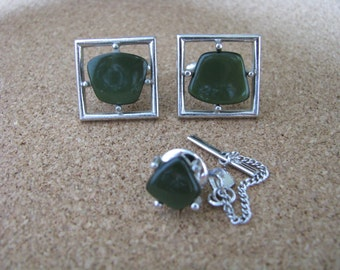 Cuff link set Vintage The New Yorker silver & green by Sarah Coventry Vintage cufflinks