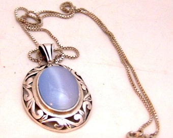 Jalaine Sterling Silver Blue Cats Eye Stone --With Silver Chain