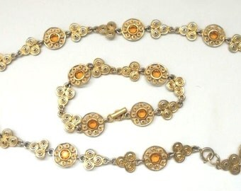 Vintage Necklace and Bracelet Set w/ Circle Designs and Golden Topaz Rhinestones