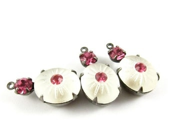 2 - Vintage Glass Stones in 1 Ring 2 Stones Silver Antique Brass Prong Settings - Frosted White & Rose Pink - 19x10mm