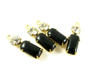 2 - Vintage Glass Octagon Stone and Round Rhinestone in 1 Ring 2 Stones Brass Settings - Jet Black & Crystal Clear - 18x6mm