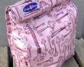 Lunch bag, eco friendly, picnic, vinyl, school, old keys, keys, pink, food, reusable, work, gift