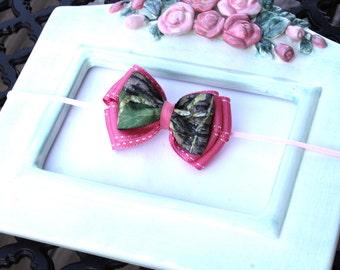 SALE Pink Mossy Oak Camo Bow Pink Skinny Stretch Headband