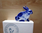 Sale -Bunny Brooch - Handpainted Blue Delft Porcelain - unique hand made - Dutch Blue- Spring
