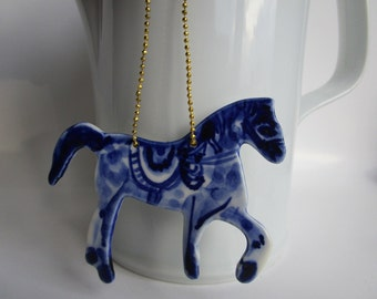 Delft Blue Porcelain Horse-  Dutch - Holland - Blue and white Delftware  Ornament - wall hanging-Christmas decoration- Nordic