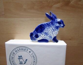 Sale -Bunny Brooch - Handpainted Blue Delft Porcelain - unique hand made - Dutch Blue- Spring