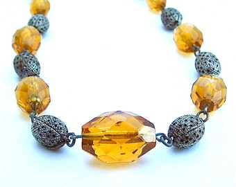 Long Art Deco Romantic Citrine Glass Stone Necklace Women Princess Filigree Bead Yellow Antique Jewelry