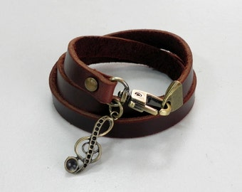 Brown Leather Bracelet Leather Charm Bracelet with Metal Musical Charm Bronze Tone