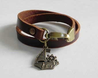 Leather Bracelet Women Bracelet Leather Cuff Bracelet Leather Charm bracelet in Brown Color with Metal Bronze Tone Sail Boat Charm