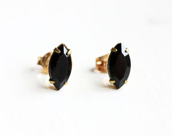 Black Marquis Studs, Black Crystal Earrings, Black Stud Earrings, Crystal Stud Earrings, Brass Stud Earrings, Black Studs