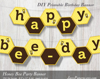 DIY Honey Bee Party printable birthday banner in yellow and brown PB007 instant download