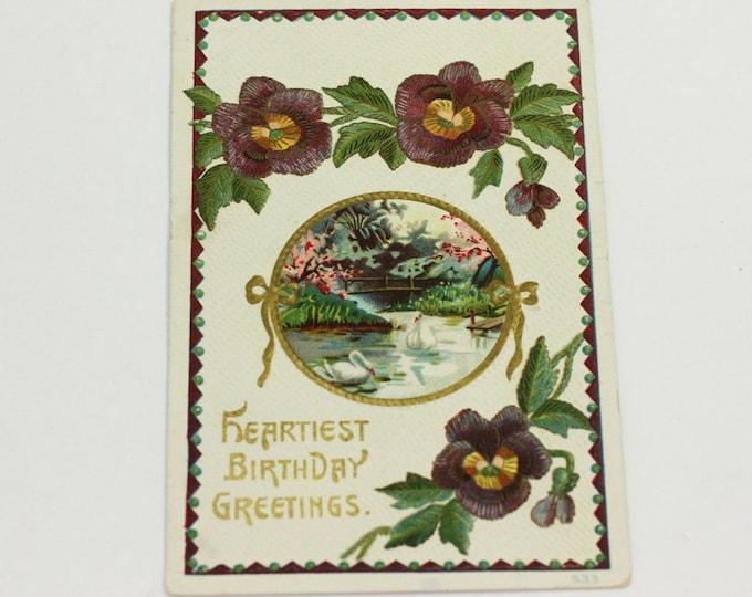 Antique Birthday Postcard Florals Embossed Swan Pond Pansies