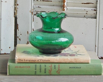 Vintage Green Bud Vase / Anchor Hocking Vase / Forest Green Ruffled Vase