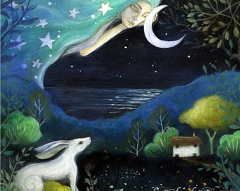 Moon Dream. An art print rom an original painting by Amanda Clark 20 x 20cm