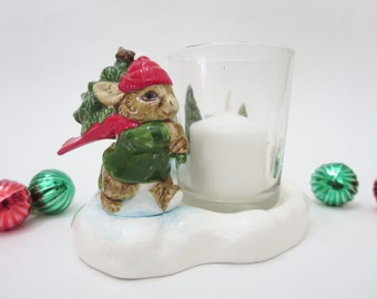 Vintage Christmas Votive Candle Holder  -  Bunny With Christmas Tree Candle Holder -  Gibson Greeting Cards - Made by Otagiri Japan