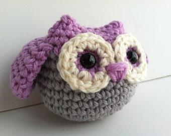 Amigurumi Crochet Owl Plush Toy - Lilac Mist Baby Shower Gift Nursery Decor Gift Under 25 Kawaii Owl Plushie Owl Woodland Stuffed Animal Owl