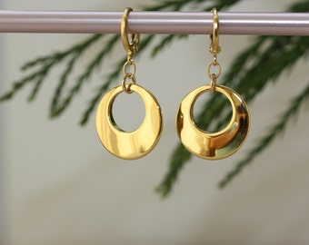 Crescent Moon Shiny Circle Charms, Easter Spring Summer Trend, Everyday Earrings, For Sister, Fashion Jewelry, Birthday Gift for Wife,