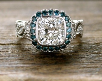 Cushion Cut Diamond Engagement Ring in 14K White Gold with Teal Blue Diamonds in Flowers & Leafs on Vine Setting Size 5