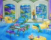 Fine Art Print Interior Still Life Monet's Gardens Piano Music Chaise from Original Oil Painting Melodies of Monet  by k Madison Moore