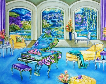 Art Prints / Interiors Still Life   / Gardens / Floral /  Piano Music /from Original Oil Painting Melodies of Monet by k Madison Moore