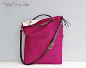 Convertible Linen Tote in Orchid, Adjustable Custom Leather Strap, Ladies Purse, Cross Body Purse, Messenger Bag, Plus Size Foldover Bag