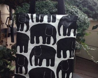 Elephant black oil cloth tote bag purse, Finland, lined