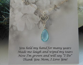 Mother of BRIDE Gift, Aquamarine Teardrop Necklace, Sterling Silver Heart Necklace, Wedding Jewelry, Mothers Necklace, Step Mother Gift