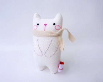Desk Toy Cat, Small Stuffed Cat, Cute Fabric Cat, Cat Decor, White Kitty Cat - Gift For Cat Lover