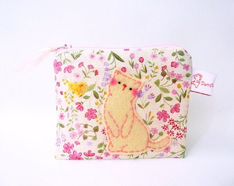Zipper Pouch, Coin Purse, Cat Coin Purse, Zipper Wallet, Flower Purse, Cat Pouch, Change Purse, Handmade Purse, Small Pouch - Cat