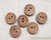 6PCS Natural Coconut Buttons - Retro Vintage Look Sunflower Floral (6PCS, D=2CM)