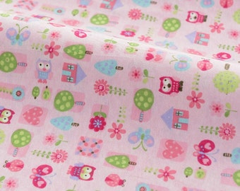 SALE Clearance-Pink Colorway Baby Hoot Owl Flower Floral Tree House Heart Butterfly - Cotton Flannel Fabric (1/2 Yard)