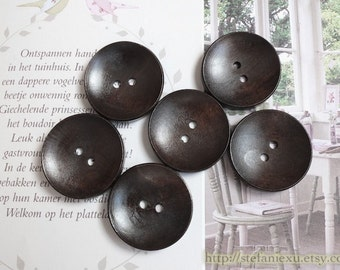 Wooden Buttons, Painted Color - Retro Simple Dark Color Round Concave (6 in a set)