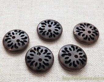 5PCS Natural Coconut Buttons - Pierced Eyelet Hollow Vintage Flower Floral Round Button (5PCS, D=1.8cm)