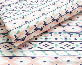 SALE Clearance LAST 1/2 Yard Home Decor, Chic Summer Pink Green Nordic Aztec Stripe Indian Motif Pattern-Japanese Light Canvas Fabric