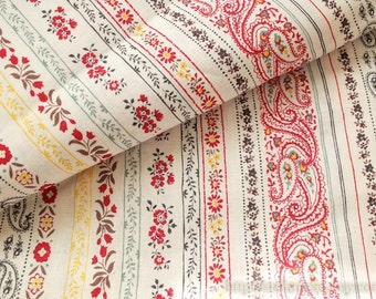 Love of Nature, Victorian Style Paisley Nordic Floral Tulip Sunflower Stripe Patchwork-Japanese Cotton Fabric (1/2 Yard, 17.7x41 Inches)