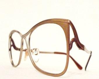 Big Mod Metal Cat Eye Eyeglass Frames. Haze Fade Butterfly Sunglasses. Women or Men. Aluminum. Gold Electroplate sale BUg Eye Disco Granny