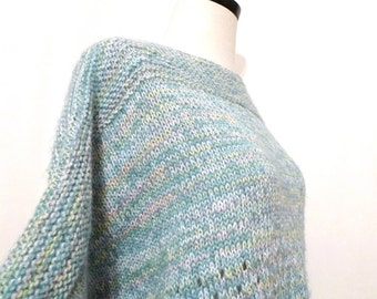 Vintage Pastel Handmade Sweater/ XL Winter Colors Knit Top with Shimmer / Extra Large/ Women / Men