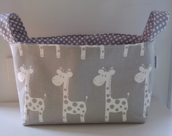 Divided Diaper Caddy 13.5 x 7.5  deep x 10.5 tall including handles - Grey Giraffe with Grey Dots