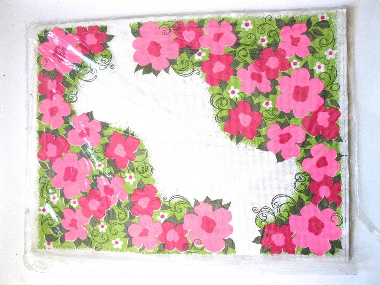 paper placemats set of 14 vintage retro floral by vintagecommon