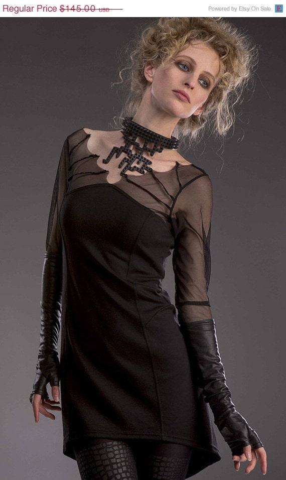 ON SALE Batty knit gothic dress with mesh details.