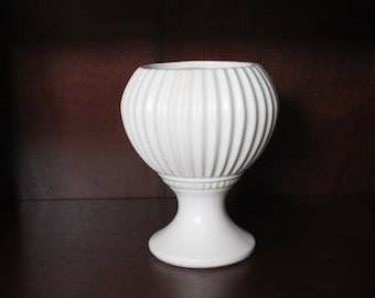 Vintage Ivory McCoy Floraline Ribbed Footed Planter