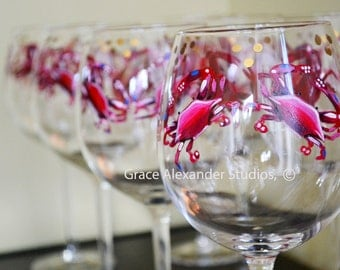 SET OF TWO Annapolis Maryland Red Crab with Blue Accents Hand Painted Red Wine Stemmed Glassware with gold Accents and Signed by Artist