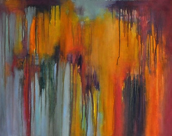 Original Abstract Painting Modern Art Colorful Rainbow UNSTRETCHED Rolled in a tube 23x31""