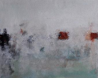 "Original Abstract Painting Modern Art Minimalist Winter Grey Brown 12""x16"""
