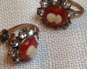 Vintage Cameo Rhinestone Earrings Screw Back Orange