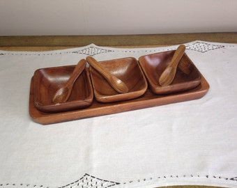 Vintage Wooden Condiment Serving Tray with 3 Bowls, Spoons, and Tray