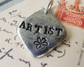 Stamped Pendant, Personalized Pendant, Pewter Hand Stamped Pendant, ARTIST Pendant, Rustic Jewelry, Flower Stamp, Stamped Silver Pendant